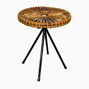 Dutch Rattan Stool from Rohé Noordwolde, 1960s