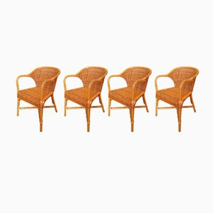Vintage Italian Wicker Chairs by Gae Aulenti for Abaco, Set of 4