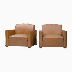 Französische Vintage Kunstleder Sessel, 2er Set