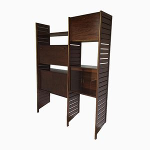 Ladderax Mahogany Wall Unit by Robert Heal for Staples Ladderax, 1960s