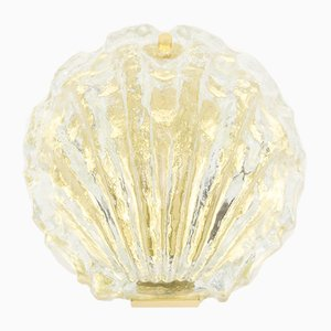 Golden Ice Glass Shell Wall Lamp from Kalmar, 1960s