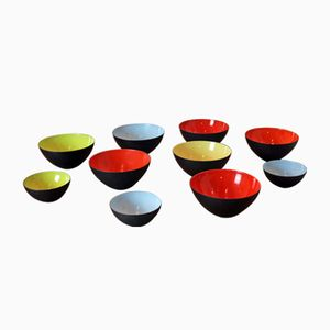 Krenit Bowls by Herbert Krenchel for Royal Copenhagen, Set of 10