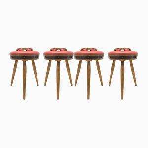Mid-Century Red Bar Stools, 1960s, Set of 4