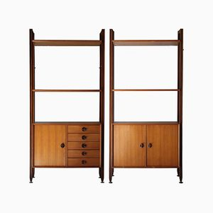 Italian Wooden Shelf Cabinets, Set of 2