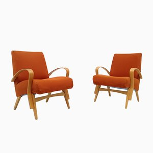 Armchairs in Curved Beech, 1950s, Set of 2