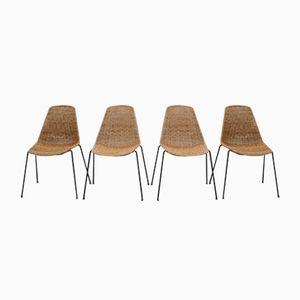 Chaises Vintage en Osier par Gian Franco Legler, Set de 4