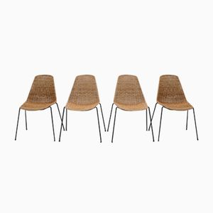 Vintage Basket Chairs by Gian Franco Legler, Set of 4