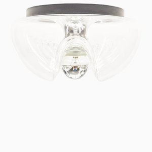 Vintage Small Wave Clear Glass Sconce by Koch & Loewy for Peill & Putzler