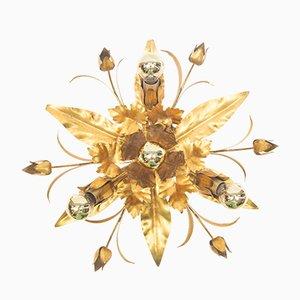 Hollywood Regency Blattgold Lampe, 1960er