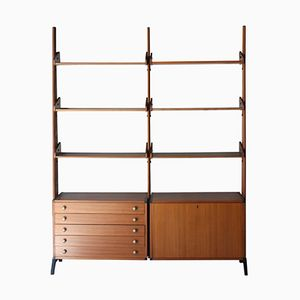 Shelving Unit in Rosewood with Storage Module, 1950s
