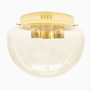 Große Bernsteinfarbene Lampe aus Glas, 1960er