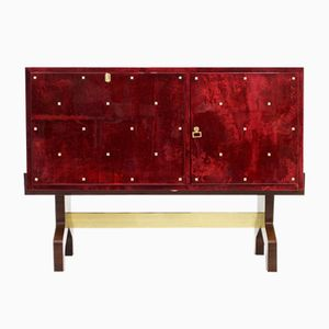 Vintage Italian Red Goatskin Bar with Refrigerator by Aldo Tura