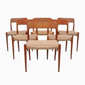 Dänische Modell 75 Stühle von Niels Møller für J.L. Müller, 1950er, 6er Set