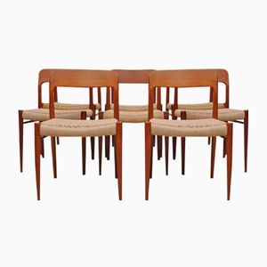 Danish Teak Chairs Mod. 75 by Niels Møller, 1950s, Set of 8