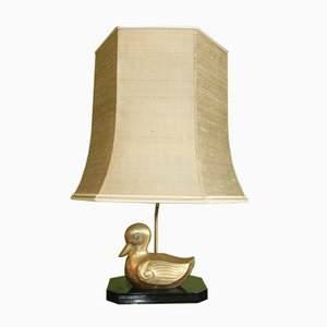 French Brass Duck Table Lamp, 1970s