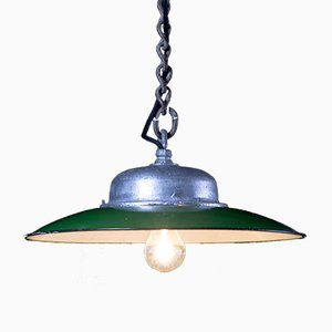 Vintage Factory Ceiling Light in Green