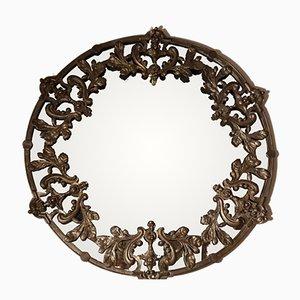 Vintage British Round Metal and Brass Mirror, 1960s