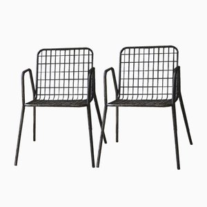 Vintage Metal Mesh Chairs, Set of 2