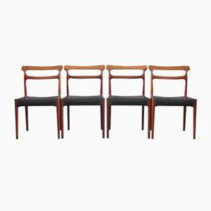 Dänische Vintage Palisander Esszimmerstühle, 4er Set