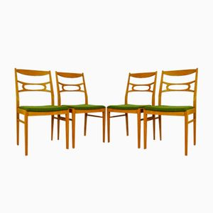 Vintage Swedish Leached Oak Chairs, 1960s, Set of 4