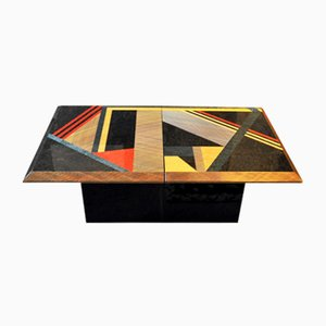 Italian Marquetry Coffee Table from Saporiti, 1980s