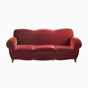 Mid-Century French Red Velvet Sofa, 1950s