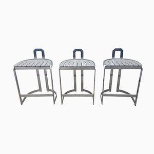 Chrome & Steel Barstools, 1986, Set of 3