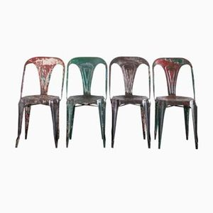 Vintage Multipl Metal Chairs by Joseph Mathieu for Tolix, Set of 4