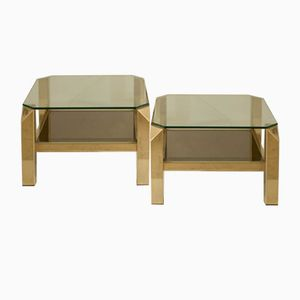 Vintage Gilded Side Tables from Belgo Chrom / Dewulf Selection, 1970s, Set of 2