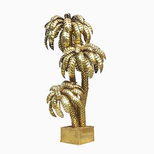 Large French Brass Palm Tree Floor Lamp from Maison Jansen, 1970s