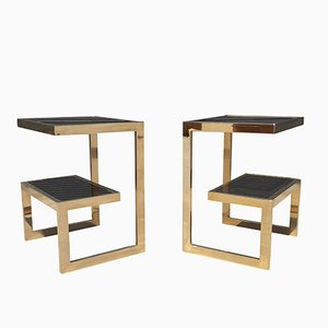 Gold 23 Karat G- Side Tables from Belgo Chrom, 1970s, Set of 2
