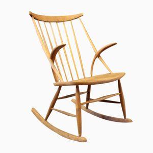 Vintage Danish Oak Rocking Chair by Illum Wikkelsø, 1960s