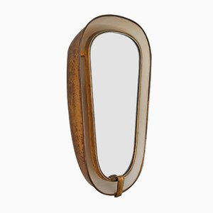 Art Deco French Back-Lit Wall Mirror with Deep Brass Frame