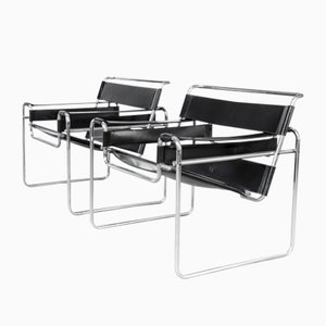 Vintage Wassily B3 Chairs in Black Leather by Marcel Breuer for Gavina, Set of 2