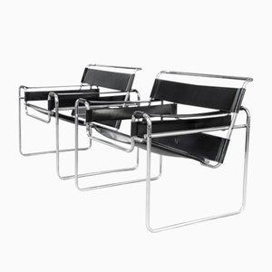 Vintage Wassily B3 Sessel aus Schwarzem Leder von Marcel Breuer für Gavina, 2er Set