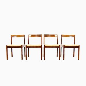 Dutch Zebrano Wooden Dining Chairs with Wicker Seats, 1970s, Set of 4