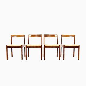 Niederländische Zebrano Holz Esszimmerstühle mit Korbgeflecht Sitzen, 1970er, 4er Set