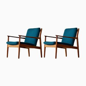 Vintage Danish Teak Armchairs by Grete Jalk for Glostrup Møbelfabrik, Set of 2