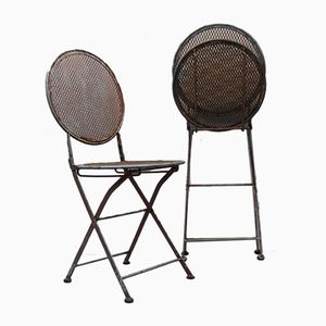 Antique Foldable Garden Chairs, Set of 2