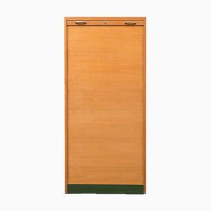 Large Oak Tambour Cabinet, 1950s