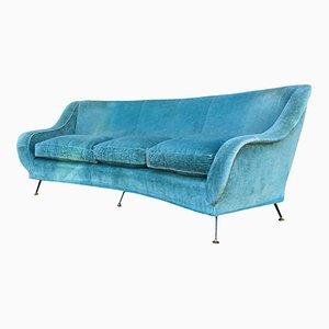 Italian Curved Sofa with Brass Feet, 1950s