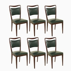 Italian Chairs in Beech & Leatherette from Palazzi dell'Arte Cantù, 1950s, Set of 6