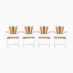 Vintage Scandinavian Iron & Wooden Garden Armchairs, Set of 4