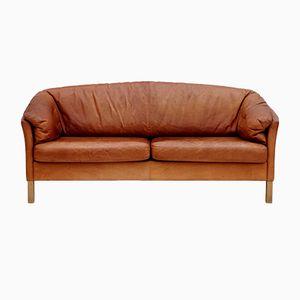 Vintage Danish Light Tan Leather Sofa by Mogens Hansen