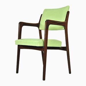 Chaise en Teck avec Tapisserie Vert Clair, 1960s
