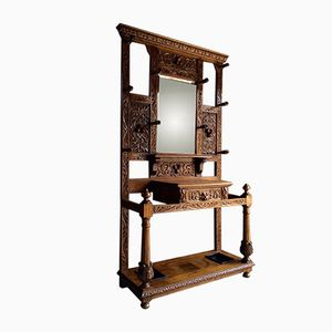 Antique Victorian Gothic Carved Hall Stand