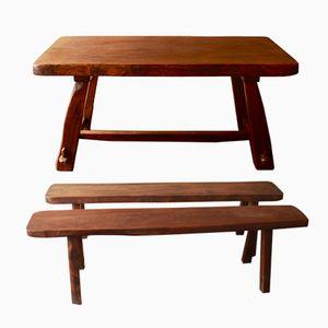 Vintage Tisch und Bänke von Olavi Hänninen für Mikko Nupponen