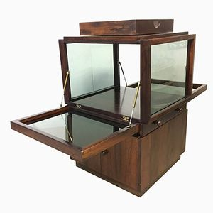 Rosewood & Glass Bar Cabinet, 1960s