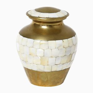 Vintage Brass & Nacre Lidded Vase