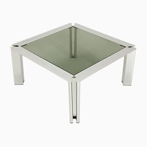 Italian Square Chromed Metal Coffee Table